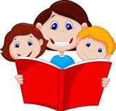 Livro de leitura da mãe para seus filhos — Vetor de Stock