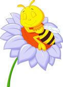 Piccola ape dorme sul grande fiore — Vettoriale Stock