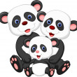 Happy panda family — Stock Vector