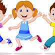 Happy kid running — Imagen vectorial
