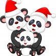 Stock Vector: Happy panda family wearing red hat