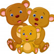 Stock Vector: Happy brown bear cartoon family