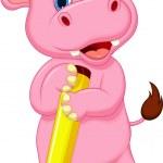 Cute hippo cartoon holding pencil — Stock Vector