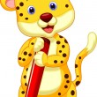 Cute leopard cartoon holding pencil — Stock Vector #35527169