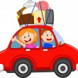 Family traveling with car — Imagen vectorial