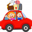 Family traveling with car — Stock Vector