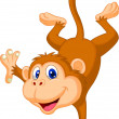 Cute monkey cartoon standing on his hand — Stock Vector
