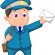 Mail carrier with bag and letter — Stock Vector
