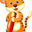Cute tiger cartoon holding pencil — Stock Vector #35527477