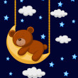 Stock Vector: Baby bear sleeping on the moon