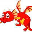 Cute red dragon flying — Stock Vector
