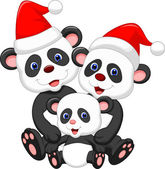 Happy panda family wearing red hat — Stock vektor