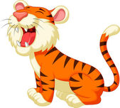 Cute tiger cartoon roaring — Stock Vector