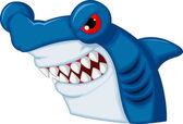 Hammerhead shark cartoon character — Stock Vector