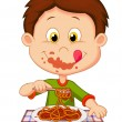 Boy eating spaghetti — Stock Vector #35745771