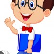 Funny geek with big glasses in white shirt and red tie — Image vectorielle