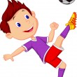 Boy cartoon playing football — Stock Vector