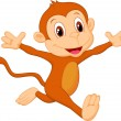 Happy monkey cartoon running — Stock Vector