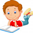 Cartoon boy reading book — Imagen vectorial