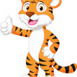 Cute tiger cartoon giving thumb up — Stock Vector