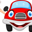 Cute red car cartoon character — Stock Vector