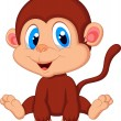 Cute baby monkey cartoon — Stock Vector