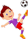 Boy cartoon playing football — Vettoriale Stock