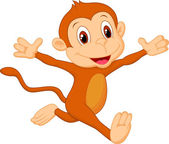 Happy monkey cartoon running — Stock Vector