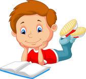 Cartoon boy reading book — Stock Vector