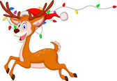 Cartone animato carino cervo con bulbo colorato — Vettoriale Stock