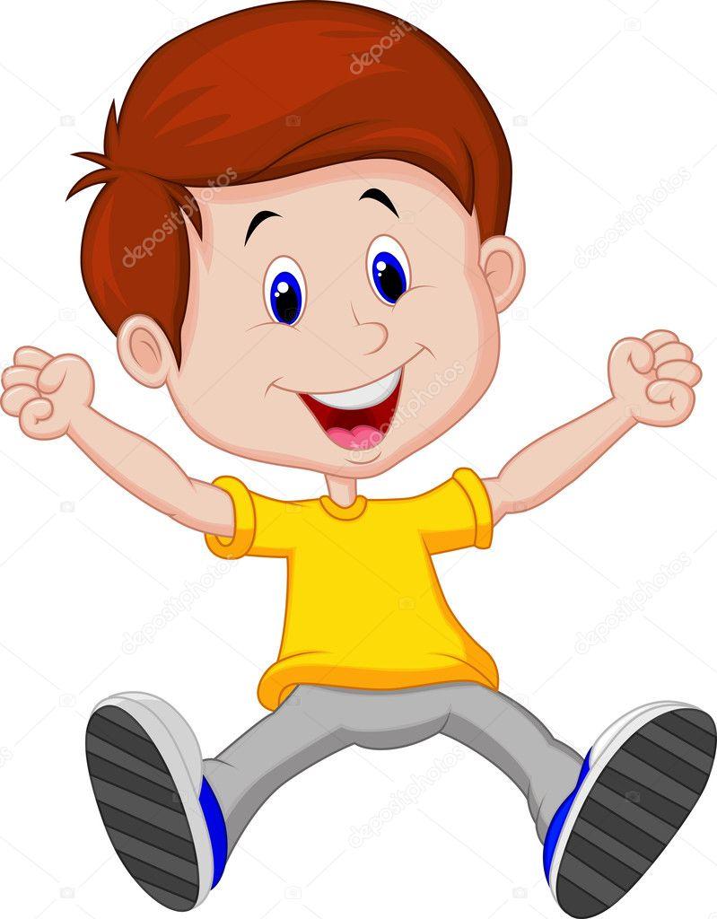 Cartone animato ragazzo felice — vettoriali stock