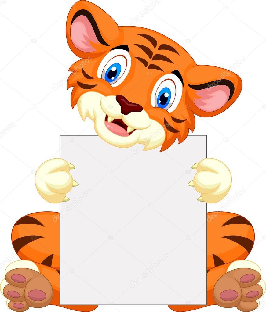 可爱的老虎卡通持有空白签名孤立在白色的背景— vector by tigatelu