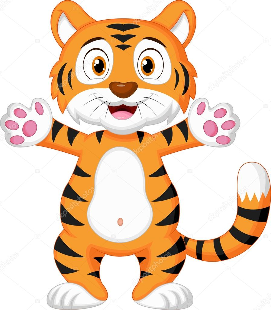 Cartone animato di tigre bambino carino — vettoriali stock
