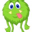 Cute hairy green monster — Stock Vector