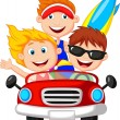 Young man and woman having fun driving their car on a road trip — Stock Vector