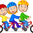 Happy family riding triple bicycle — Stock Vector