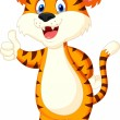 Cute tiger cartoon giving thumbs up — Stock Vector #35750265