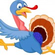 Stockvector : Cartoon turkey running