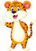 Cute tiger cartoon giving thumbs up — Stock Vector