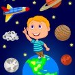 Boy looking at the sky — Stock Vector