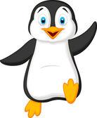 Penguin cartoon waving — Stock Vector