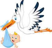 Stork carrying baby — Stock Vector