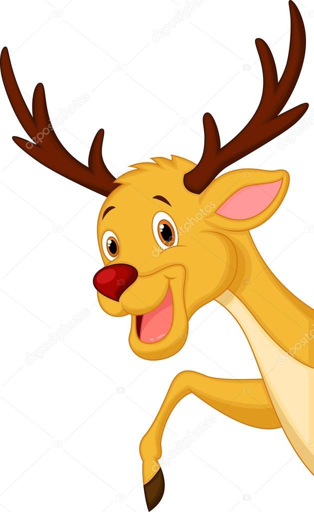 可爱鹿头卡通– 图库插图