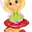 Cute fairy sitting on mushroom — Stock Vector #37157611