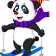 Panda bear skiing — Stock Vector