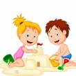 Stock Vector: Children making sand castle