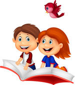 Boy and girl flying on a book — Vector de stock