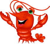 Cute lobster cartoon waving — Stock Vector