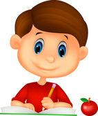 Ευτυχισμένο αγόρι, γράφοντας ένα βιβλίο — Διανυσματικό Αρχείο
