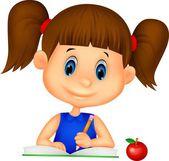 ευτυχισμένος κορίτσι, γράφοντας ένα βιβλίο — Διανυσματικό Αρχείο
